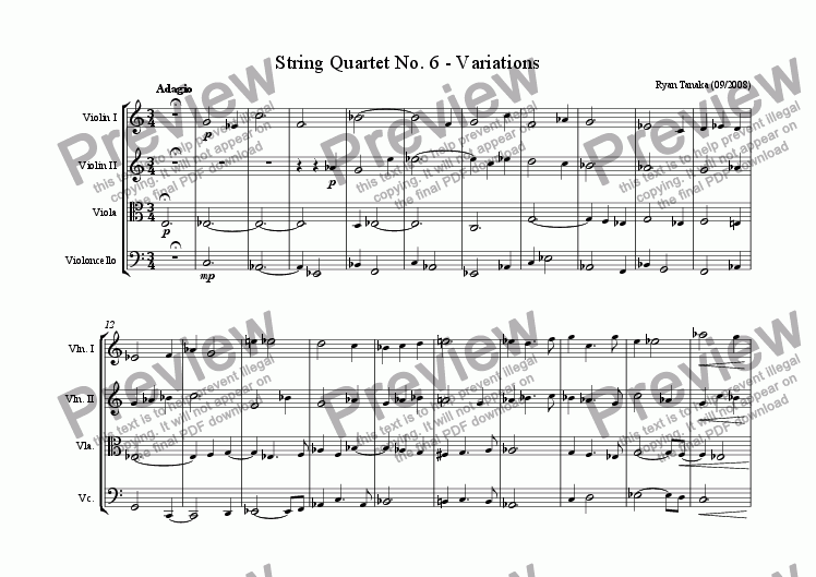 page one of String Quartet No. 6 - Variations