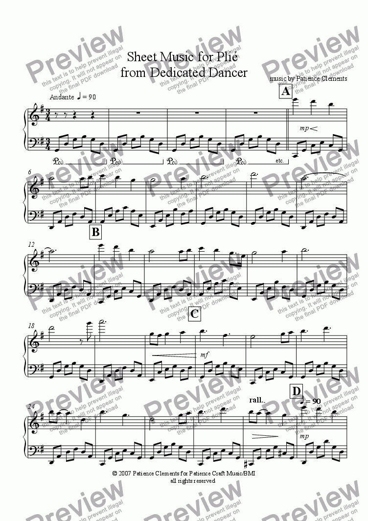 page one of Sheet Music for Plié  from Dedicated Dancer