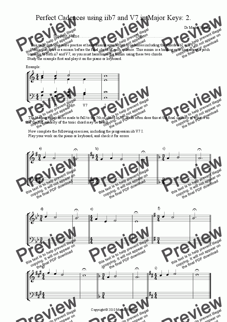 page one of Perfect Cadences using iib7 and V7 in Major and Minor Keys: 2.