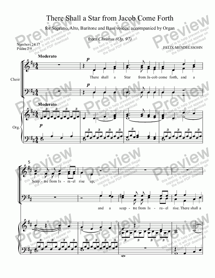 "page one of There Shall a Star From Jacob Come Forth (MENDELSSOHN) (from oratorio ""Christus""), Advent anthem for SATB Choir with Organ accompaniment, arr. by Pamela Webb Tubbs"