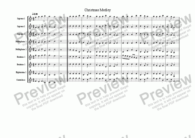 Christmas Medley for Marching band by unknown - Sheet Music PDF file to  download