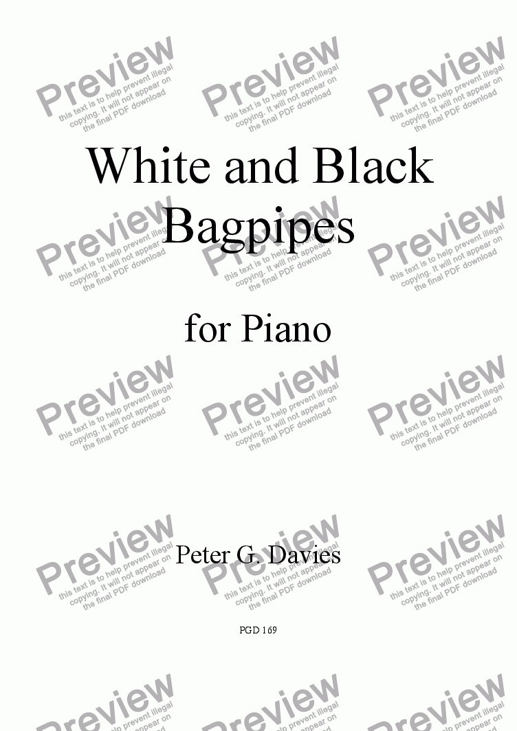 page one of White and Black Bagpipes
