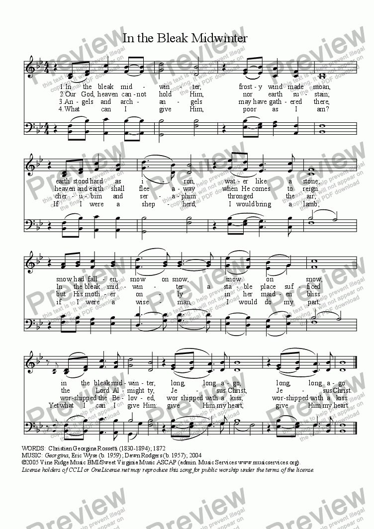 In the Bleak Midwinter for Choir by Eric Wyse - Sheet Music PDF file to  download