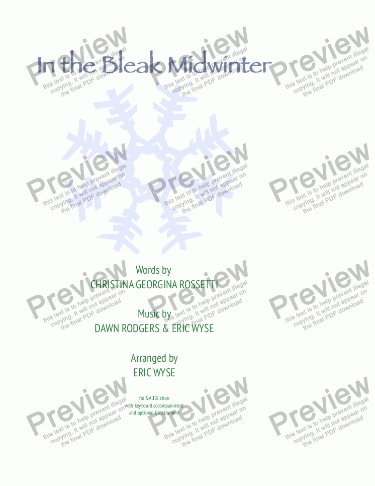 page one of In the Bleak Midwinter - SATB choir & keyboard (optional C Instrument)ASALTTEXT