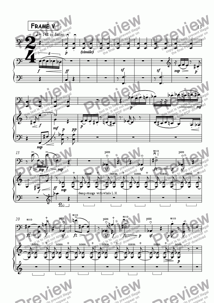 "page one of Frame 5/5,  for Cello & Piano - ""Splinters of a Shattered Space"""