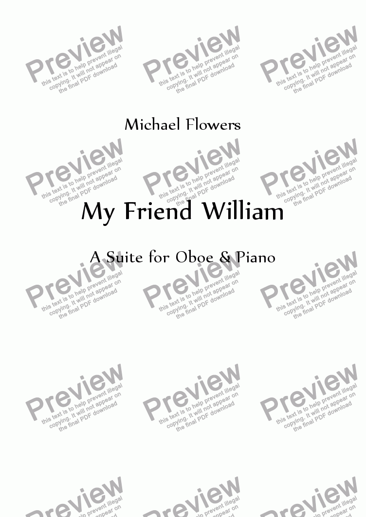 page one of My Friend William (Oboe & Piano)