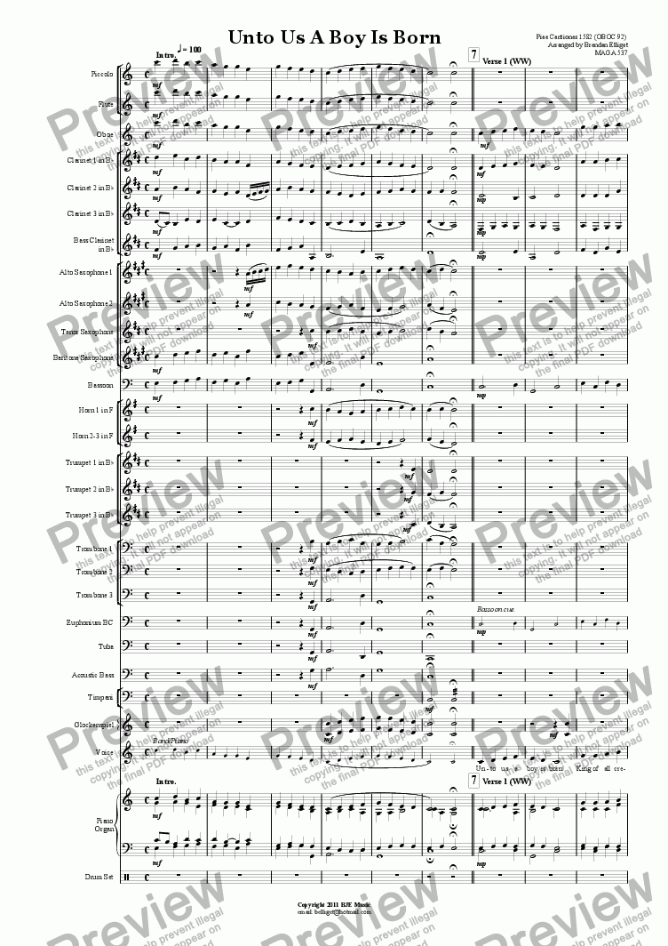 page one of Unto Us A Boy Is Born (Christmas) - Concert BandASALTTEXT