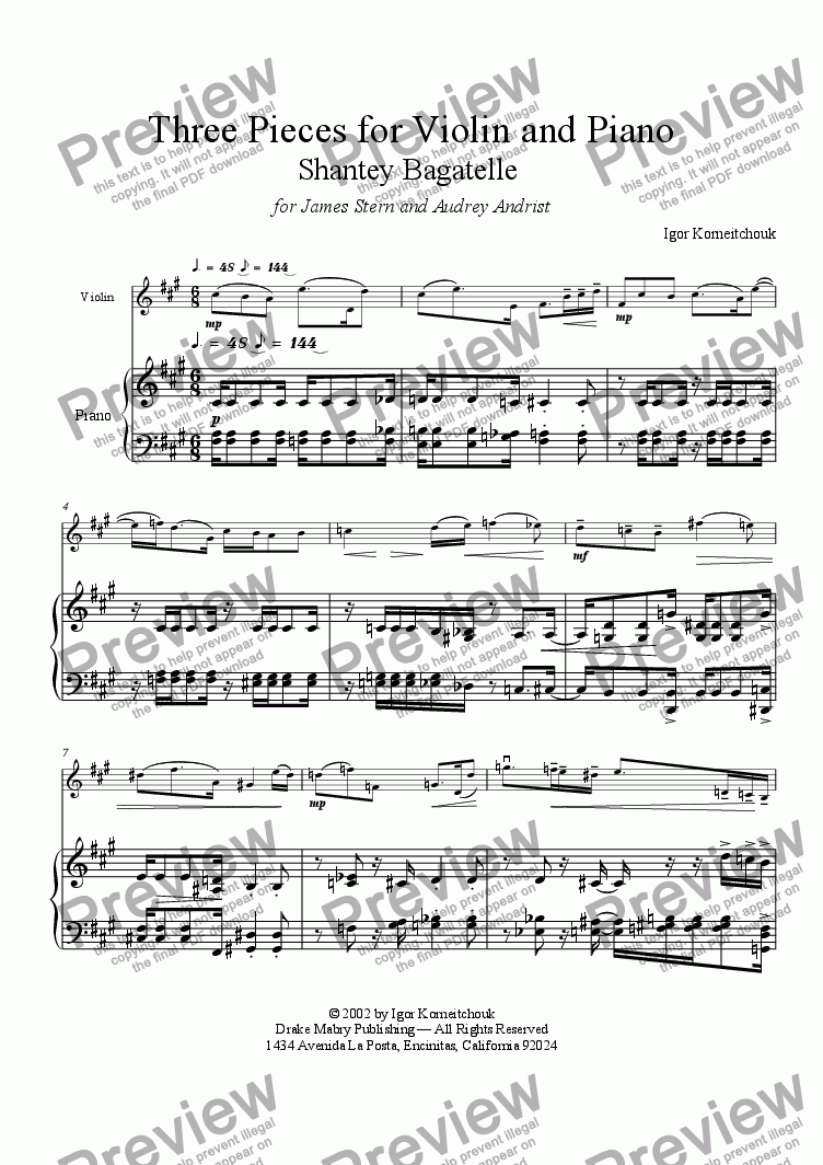 page one of Three Pieces for Violin and Piano