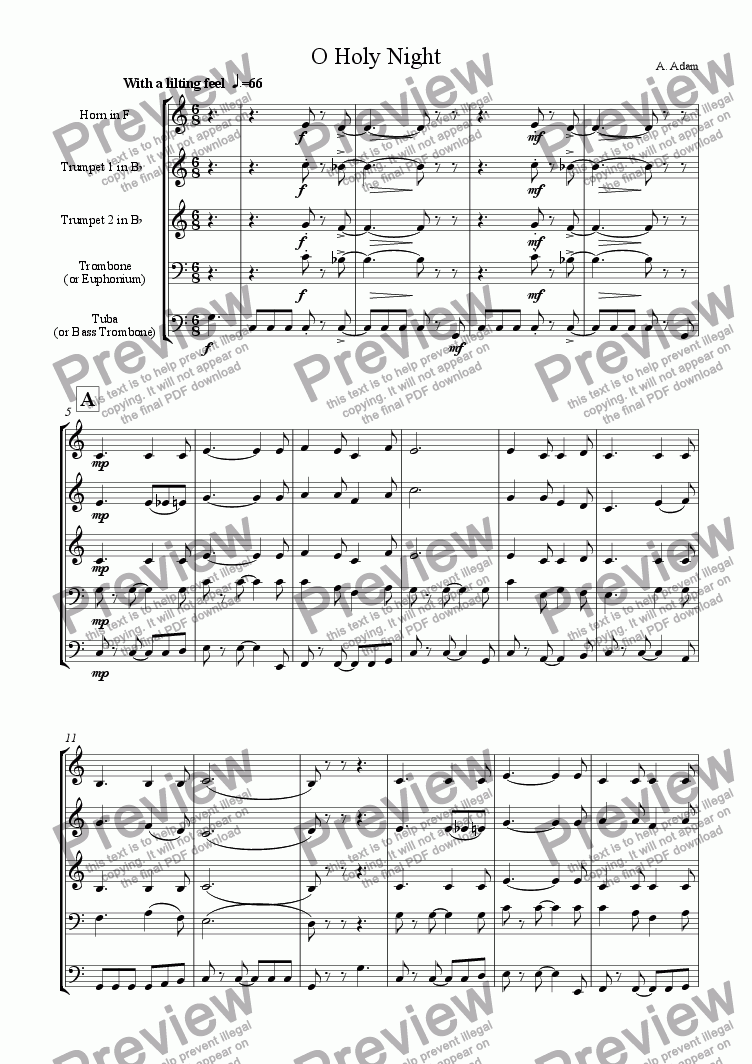 page one of O Holy Night (for Brass Quintet)ASALTTEXT