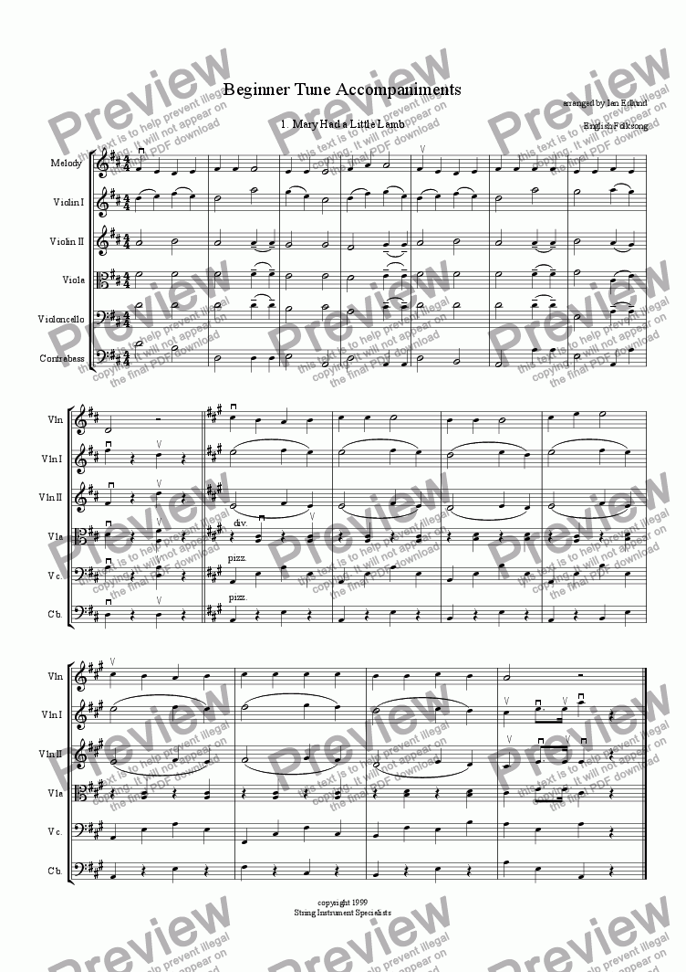 page one of Beginner Tune Accompaniments