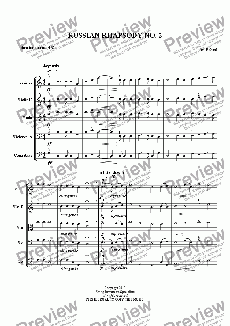 page one of RUSSIAN RHAPSODY NO. 2
