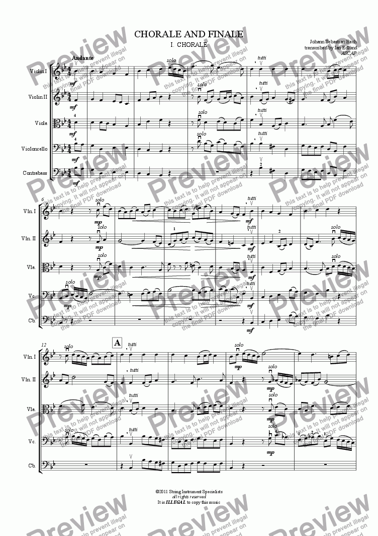 page one of CHORALE AND FINALE