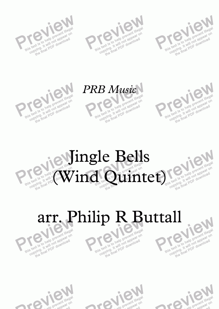page one of Jingle Bells (Wind Quintet)