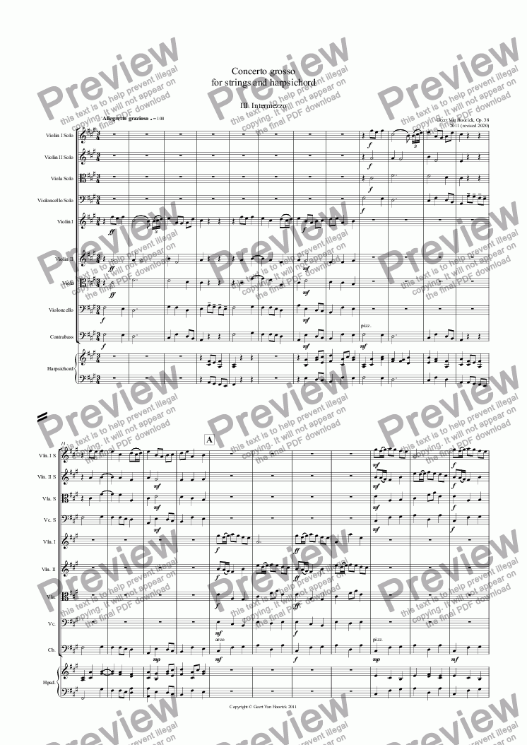 page one of Concerto grosso for strings and harpsichord - III Intermezzo