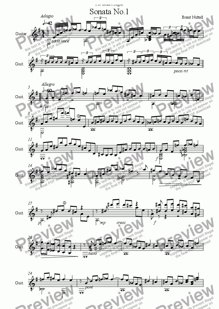 page one of Guitar Sonata No.1  1st mvt