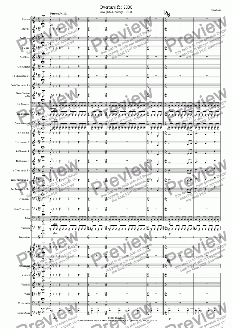 page one of Overture for 2000