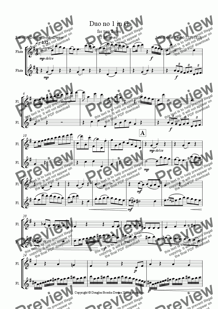 page one of VANHAL, Johann Baptist: Duo no 1 in G for 2 flutes