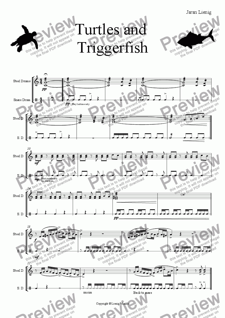 page one of Turtles and  Triggerfish