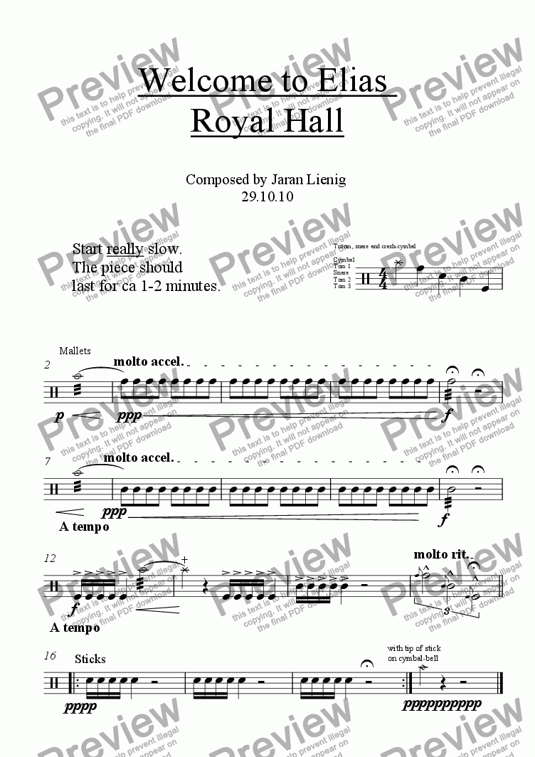 page one of Welcome to Elias  Royal Hall