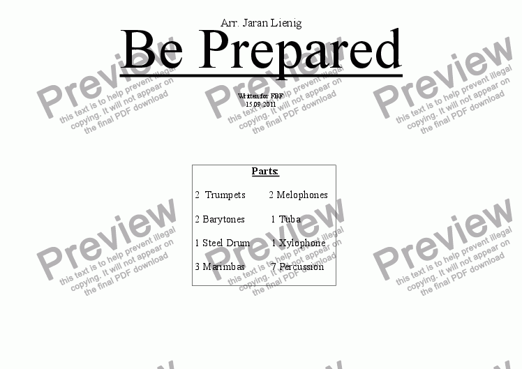 page one of Be Prepared