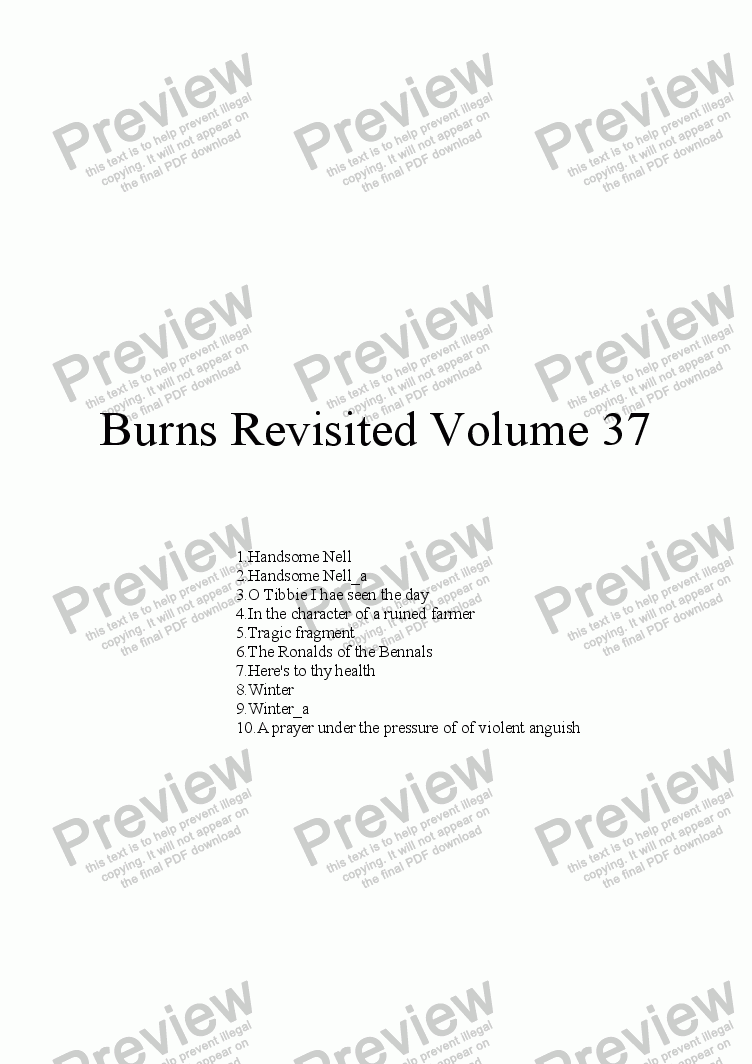 page one of Burns Revisited Volume 37