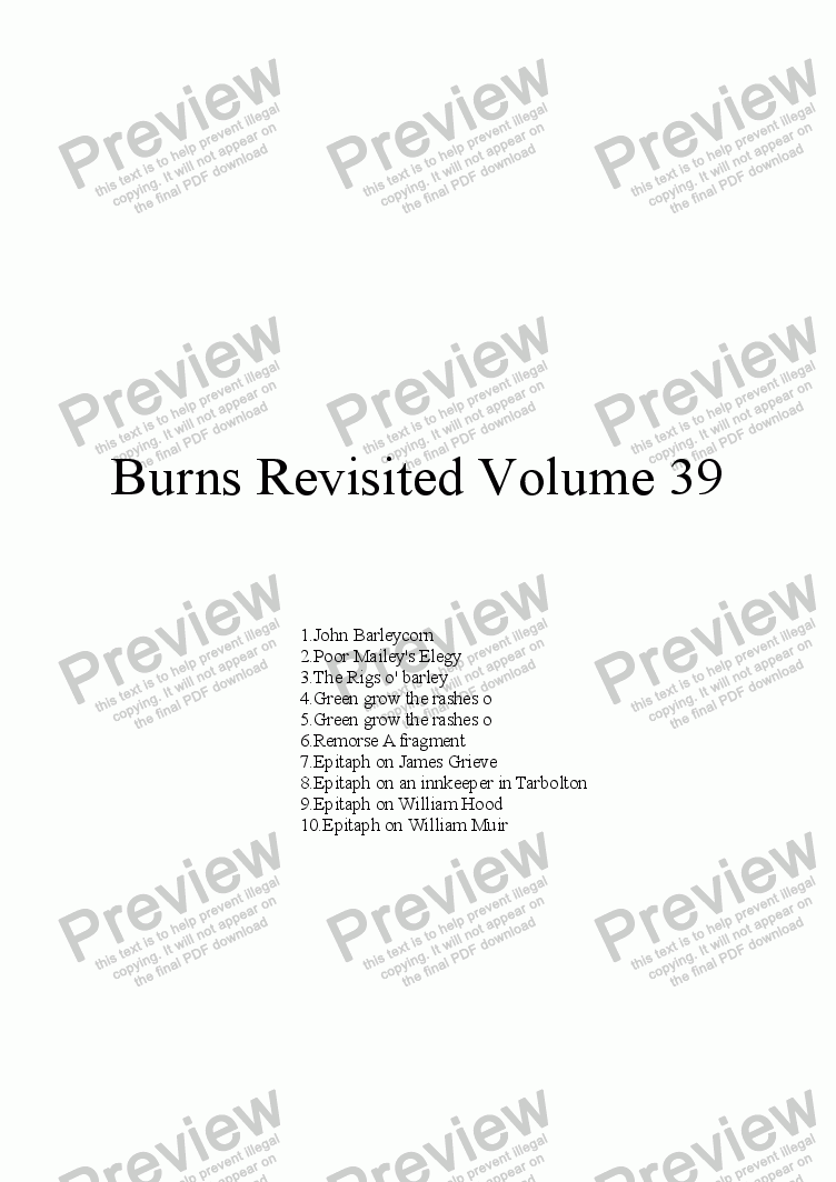 page one of Burns Revisited Volume 39