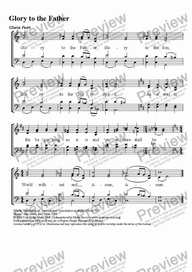 page one of Glory to the Father (Gloria Patri) 4-part for A CAPPELLA WORSHIPASALTTEXT