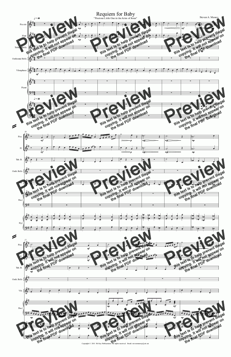 page one of Requiem for Baby  (REVERANCE - sextet)