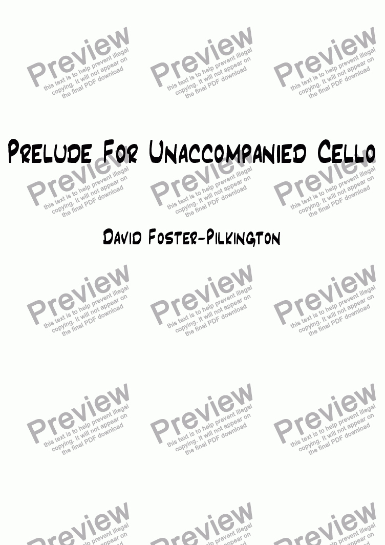 page one of Prelude For Unaccompanied Cello