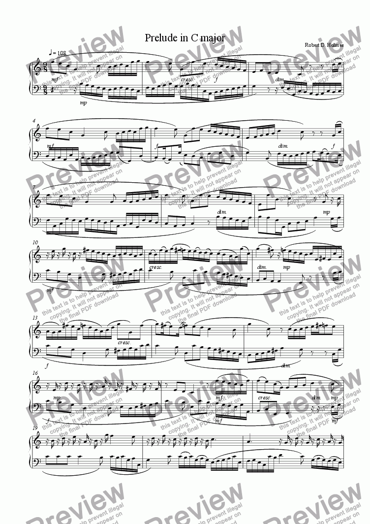 page one of Prelude in C Major