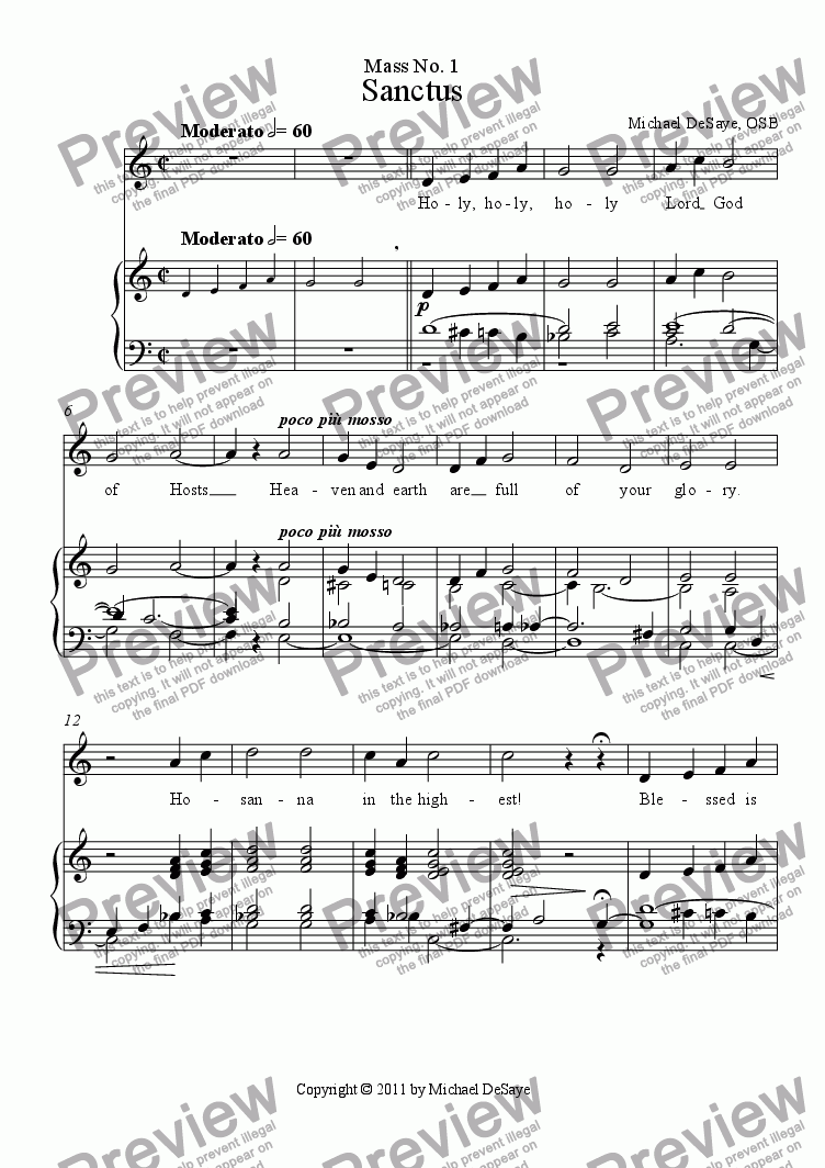 page one of Mass 1 Vocal with Accompaniment