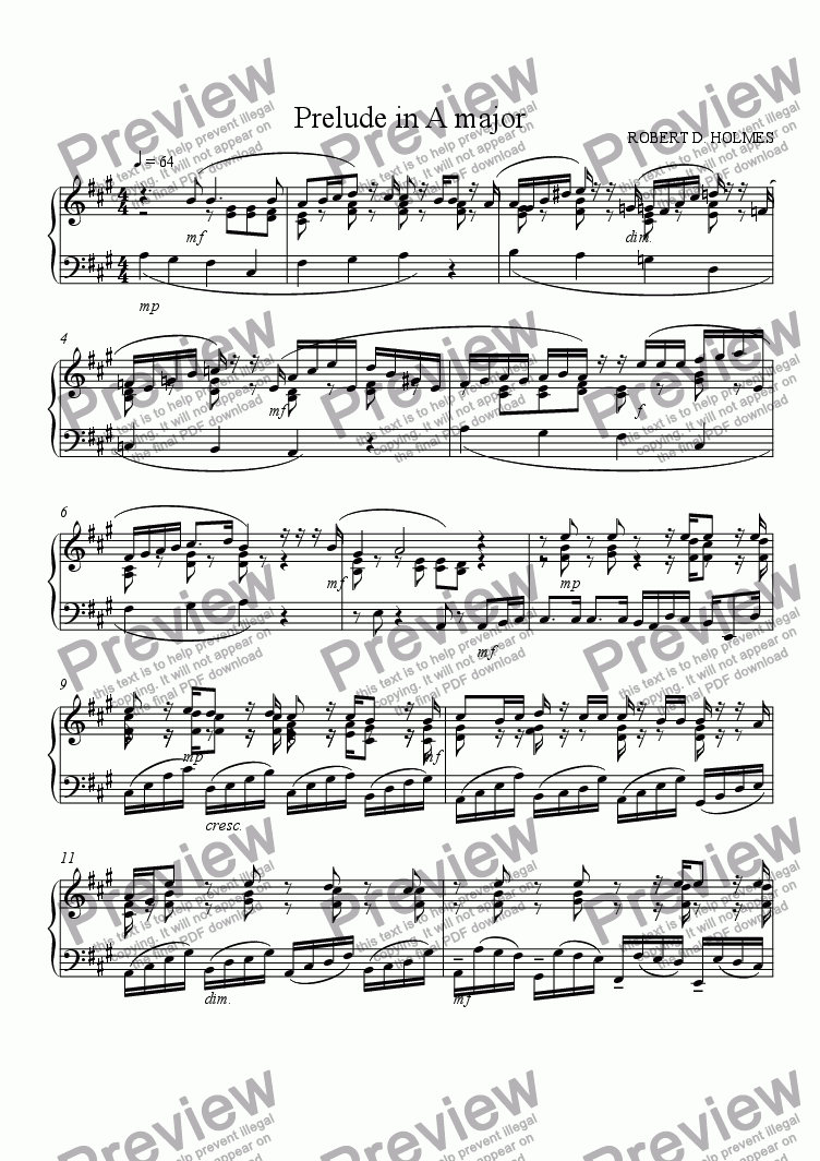 page one of Prelude in A Major