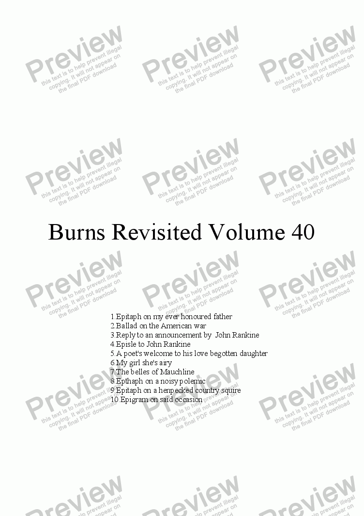 page one of Burns Revisited Volume 40