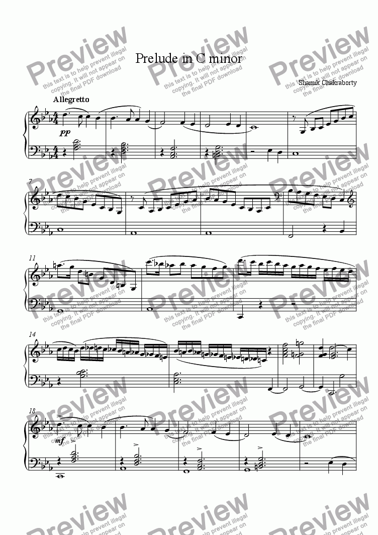 page one of Prelude in C minor