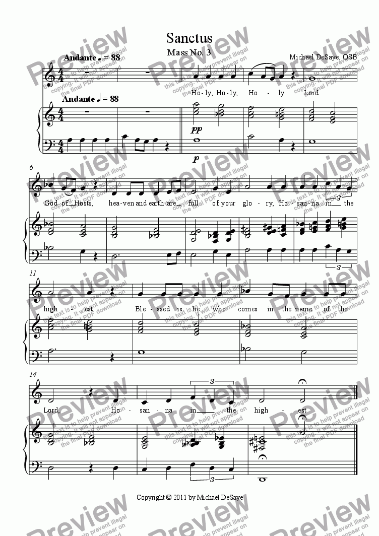 page one of Mass 3 Vocal with Accompaniment
