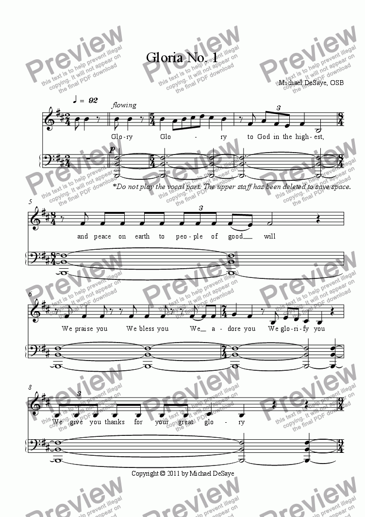 page one of Gloria No. 1