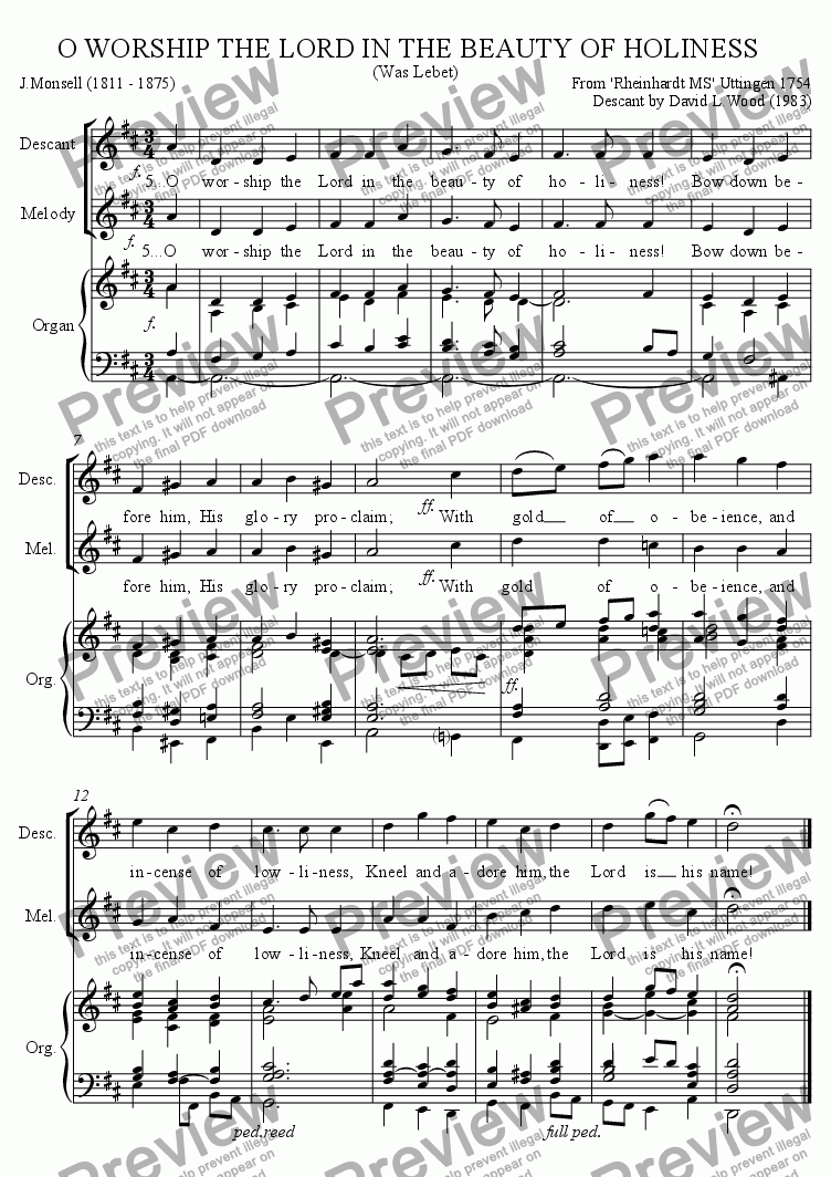 Descant To O Worship The Lord In The Beauty Of Holiness for Choir by anon   - Sheet Music PDF file to download