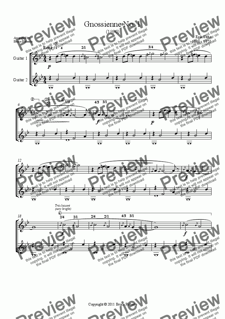 page one of SATIE: Gnossienne No. 1 (Classical Guitar duet)