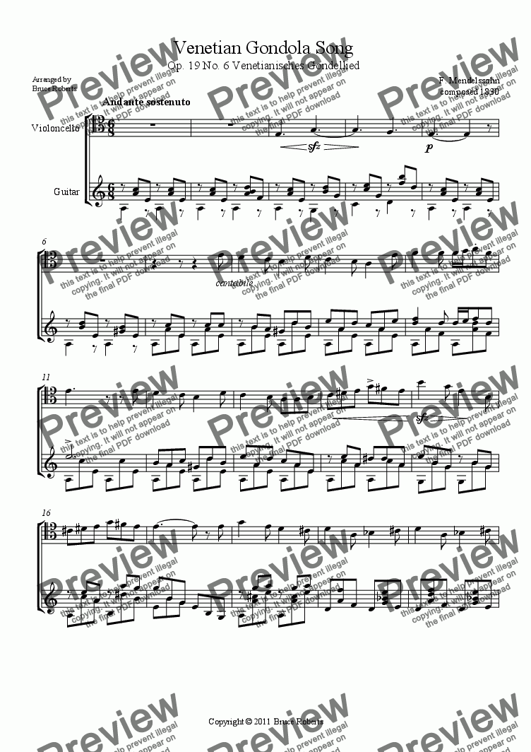 page one of MENDELSSOHN: Venetian Gondola Song Op.19 No. 6 (Cello & Guitar)