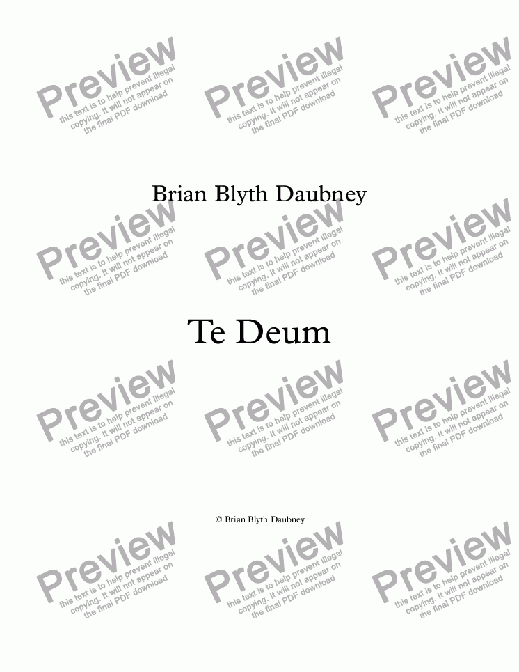 page one of Te Deum