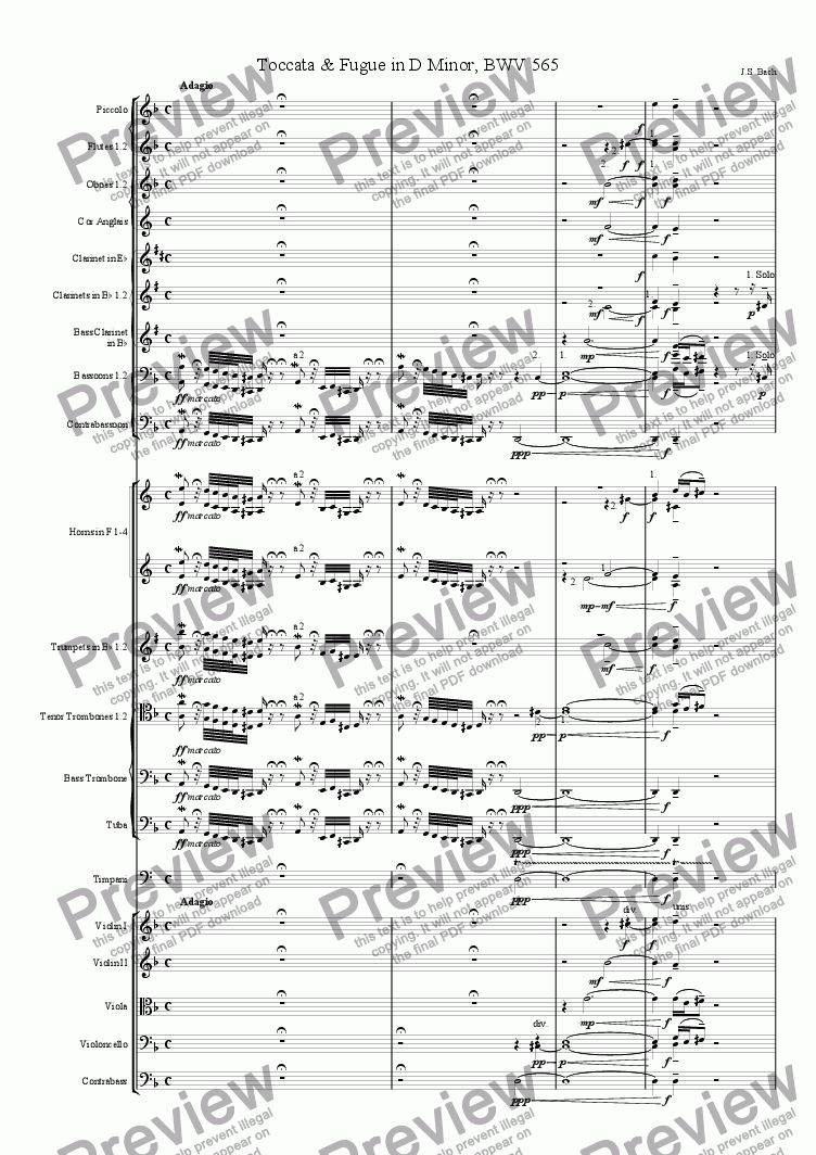 page one of Toccata & Fugue in D Minor, BWV 565