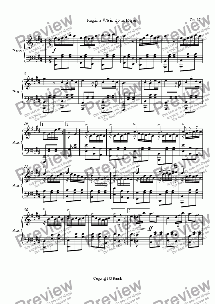 page one of Ragtime #76 in E Flat Major