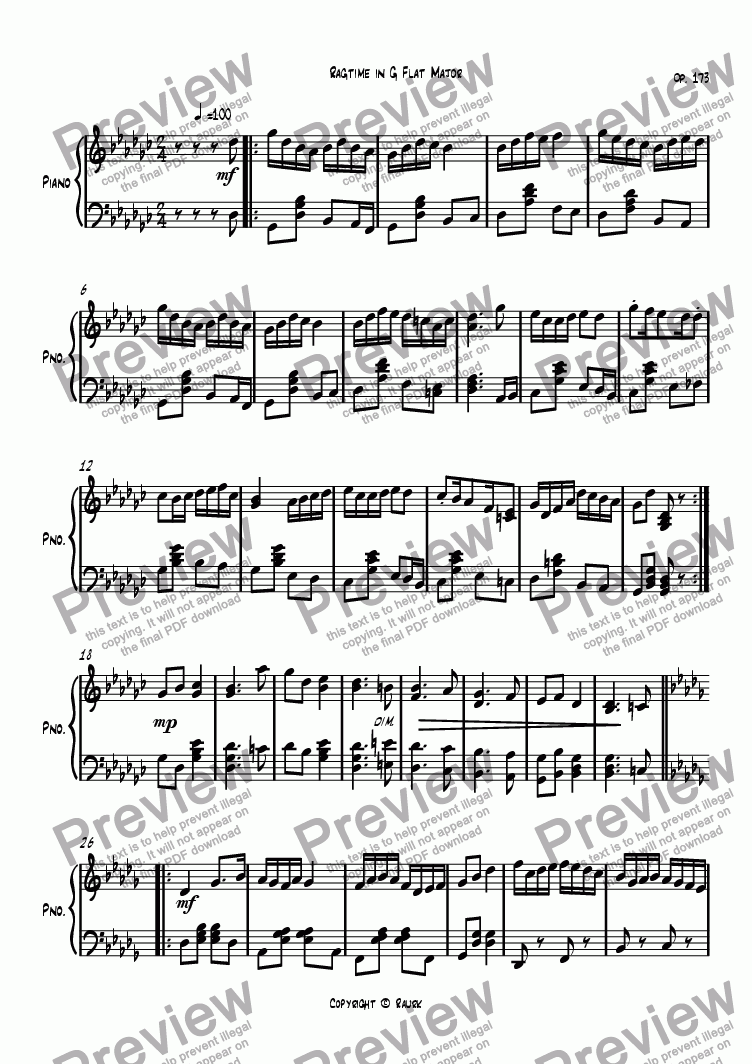 page one of Ragtime #75 in G Flat Major