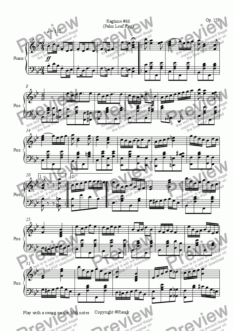 page one of Ragtime #66 in B Flat Major - Palm Leaf Rag