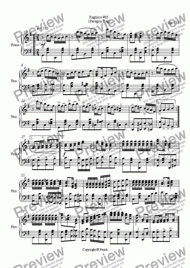 page one of Ragtime #65 in G Major - Paragon Rag