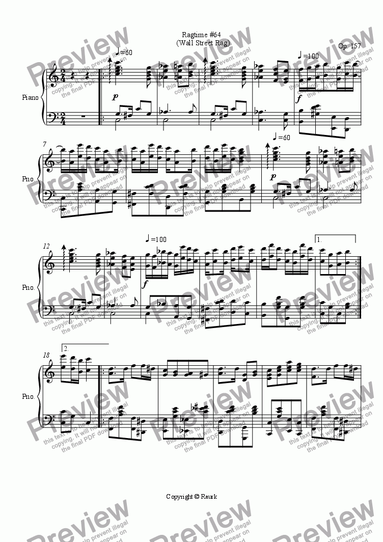 page one of Ragtime #64 in C Major - Wall Street Rag