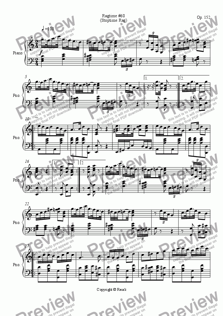 page one of Ragtime #60 in C Major - Stoptime Rag