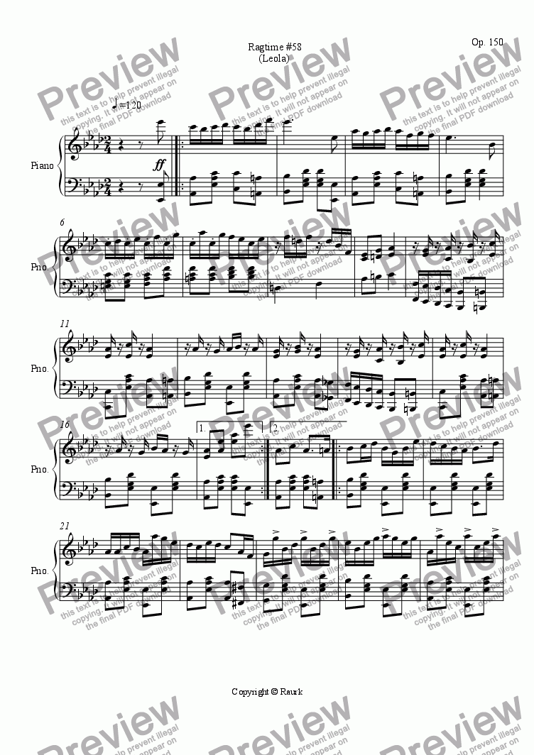 page one of Ragtime #58 in A Flat Major - Leola