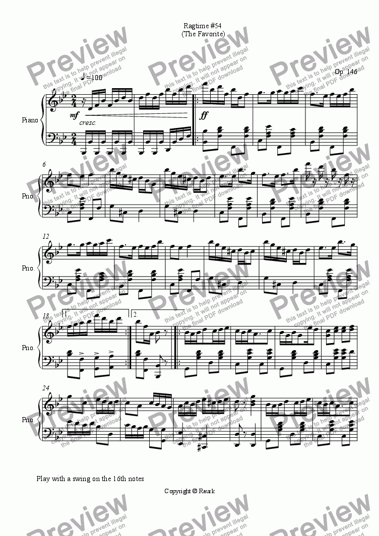 page one of Ragtime #54 in B Flat Major - The Favorite