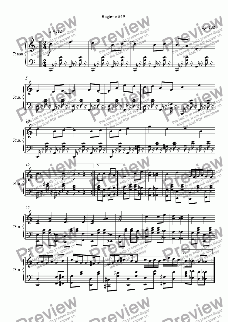 page one of Ragtime #49 in C Major